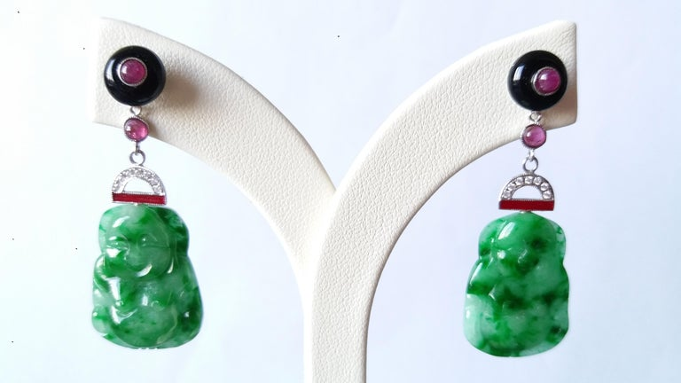 Art Deco Style Burma Jade Buddha Gold Diamonds Rubies Red Enamel Dangle Earrings In Excellent Condition For Sale In Bangkok, TH