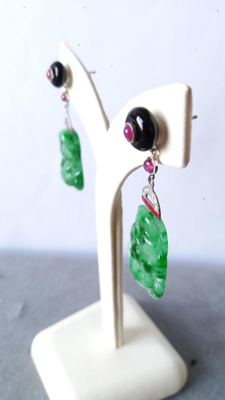 Women's Art Deco Style Burma Jade Buddha Gold Diamonds Rubies Red Enamel Dangle Earrings For Sale