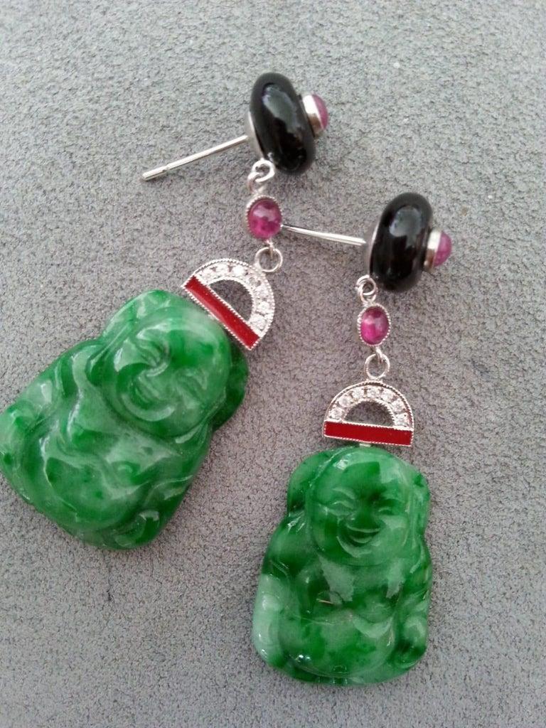 Art Deco Style Burma Jade Buddha Gold Diamonds Rubies Red Enamel Dangle Earrings For Sale 1
