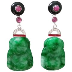 Art Deco Style Burma Jade Buddha Gold Diamonds Rubies Red Enamel Dangle Earrings