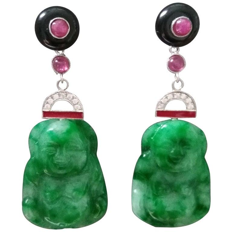 Art Deco Style Burma Jade Buddha Gold Diamonds Rubies Red Enamel Dangle Earrings For Sale