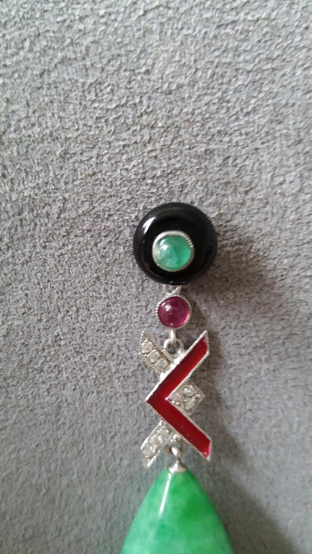 Mixed Cut Art Deco Style Burma Jade Gold Diamonds Rubies Emeralds Red Enamel Drop Earrings For Sale