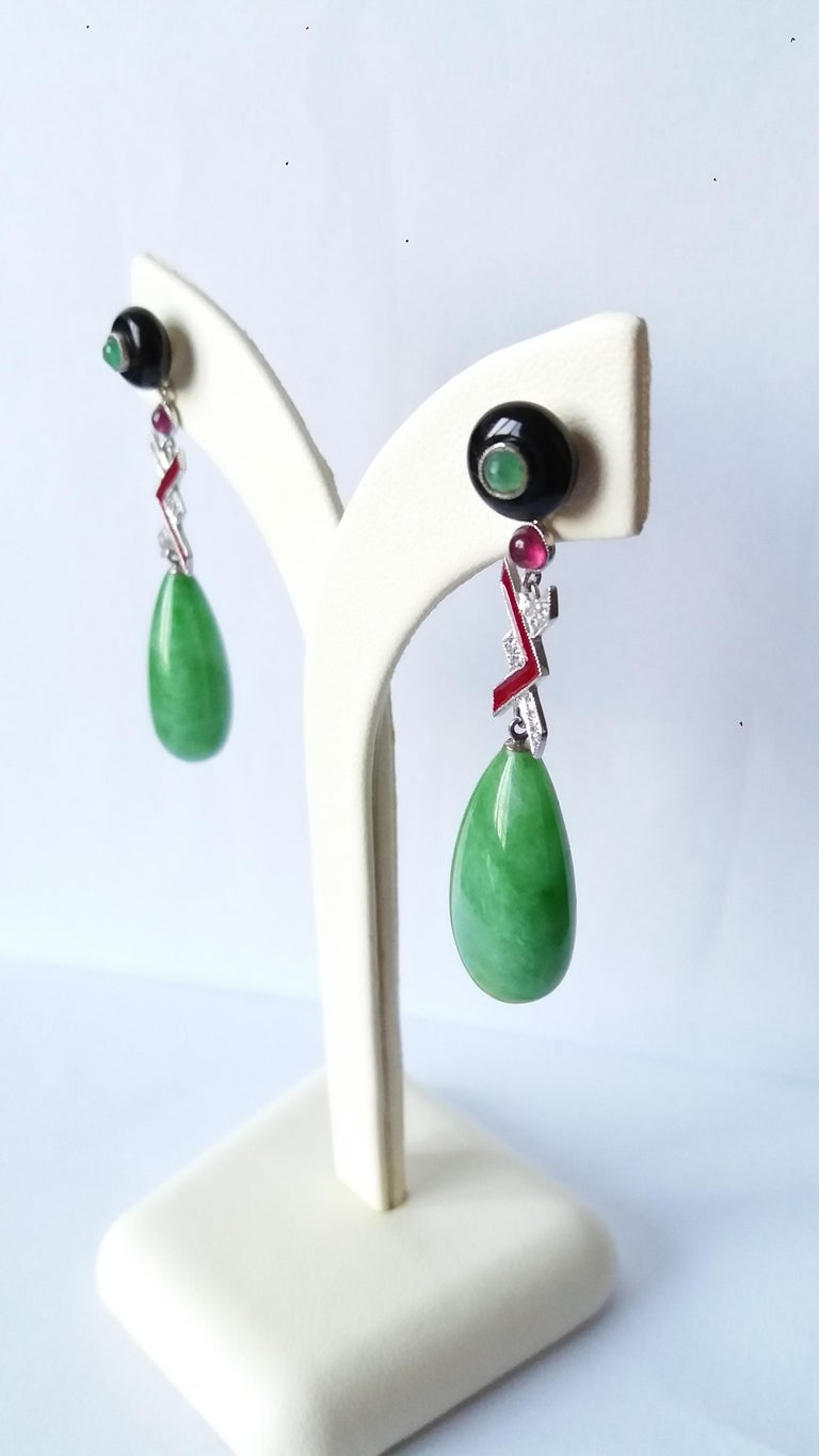 Art Deco Style Burma Jade Gold Diamonds Rubies Emeralds Red Enamel Drop Earrings In Excellent Condition For Sale In Bangkok, TH