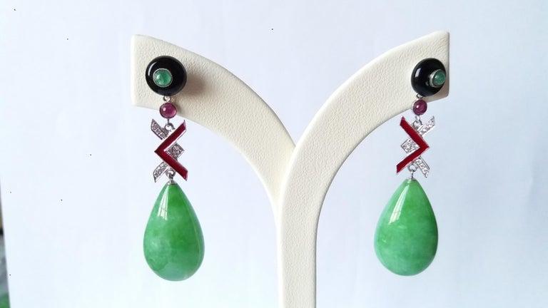 Women's Art Deco Style Burma Jade Gold Diamonds Rubies Emeralds Red Enamel Drop Earrings For Sale