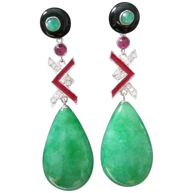 Art Deco Style Burma Jade Gold Diamonds Rubies Emeralds Red Enamel Drop Earrings For Sale