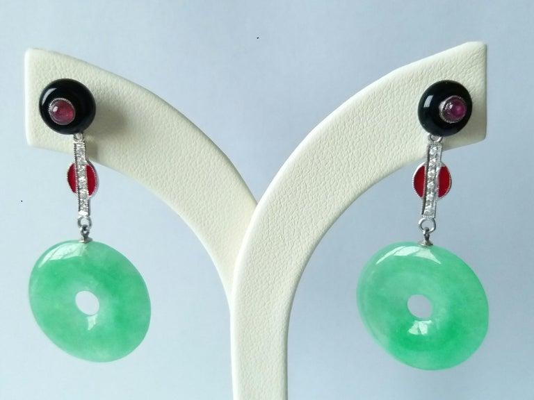 Women's Art Deco Style Burma Jade Rubies Gold Diamonds Red Enamel Black Onix Earrings For Sale