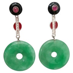 Art Deco Burma Jade Rubies Gold Diamonds Red Enamel Black Onix Dangle Earrings