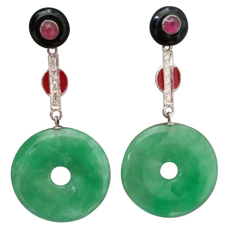 Art Deco Style Burma Jade Rubies Gold Diamonds Red Enamel Black Onix Earrings For Sale