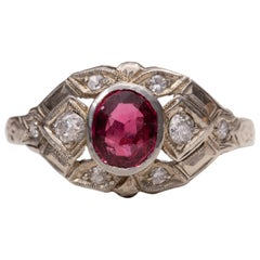 Art Deco Burma No Heat Red Spinel with GIA White Gold Diamond Ring, Looks Ruby