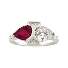 Art Deco Burma Ruby and Diamond Ring, 1.52 Carats