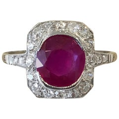 Art Deco Burma Ruby and Diamond Ring with GCS Certificate