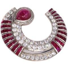 Art Deco Burma Ruby Diamond Platinum Clip Brooch