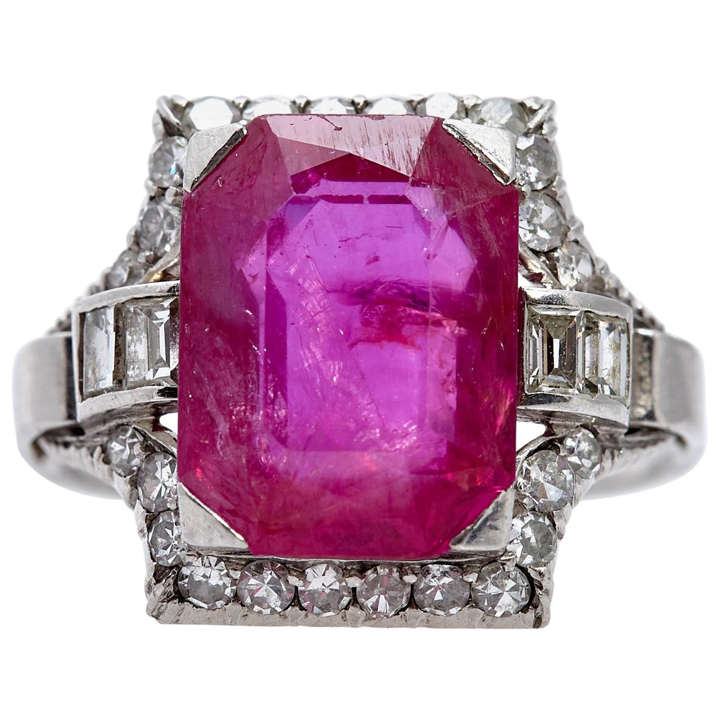 Art Deco Burma Ruby Diamond Ring