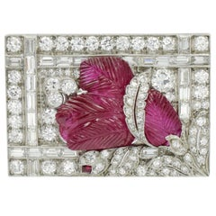 Art Deco Burmese No Enhancement Carved Ruby Diamond Brooch