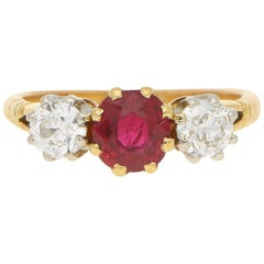 Art Deco Burmese Red Ruby and Old Mine Cut Diamond Trilogy Engagement Ring