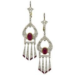 Art Deco Burmese Ruby and Diamond Drop Earrings Platinum Fringed Dangles 4 Carat