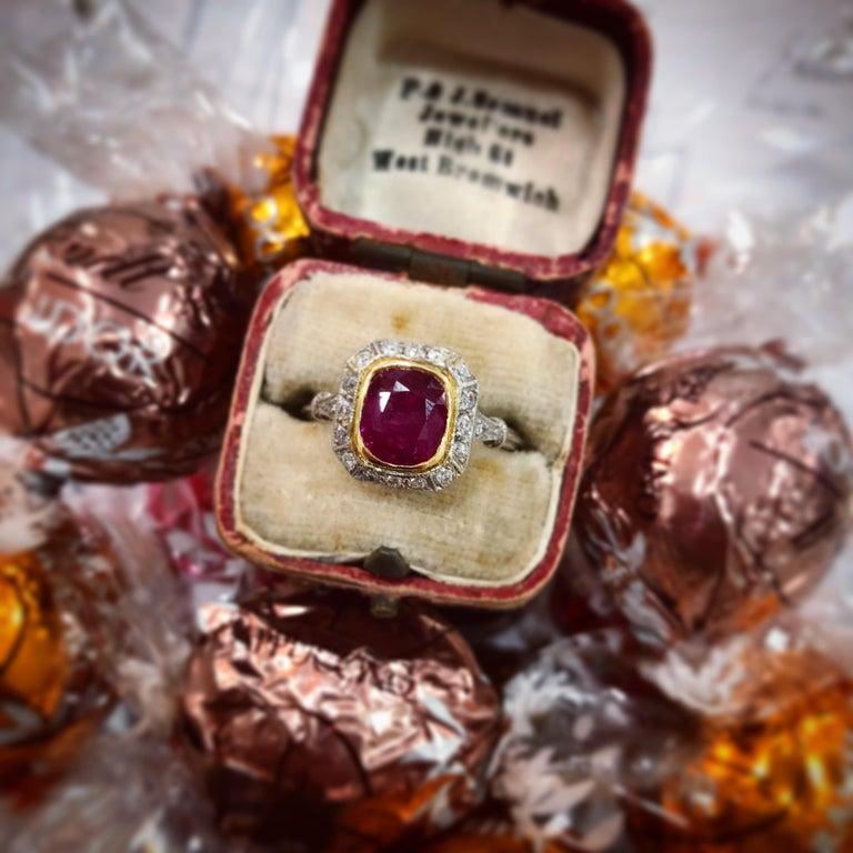 Art Deco Burmese Ruby and Diamond Ring, circa 1930s