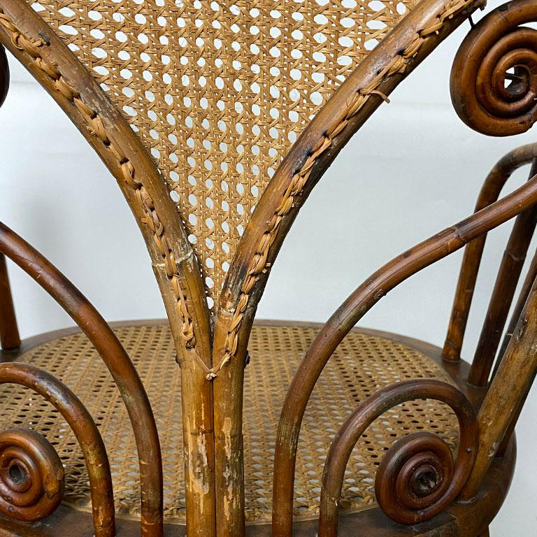 Art Deco Burnt Bamboo and Cane Arm Chair For Sale 3