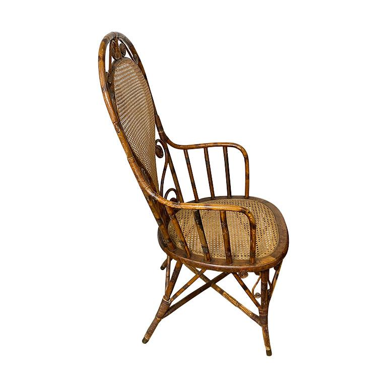 Art Nouveau Art Deco Burnt Bamboo and Cane Arm Chair For Sale