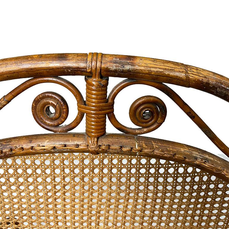 English Art Deco Burnt Bamboo and Cane Arm Chair For Sale