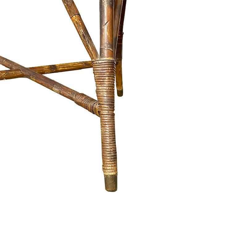 Art Deco Burnt Bamboo and Cane Arm Chair In Good Condition For Sale In Oklahoma City, OK
