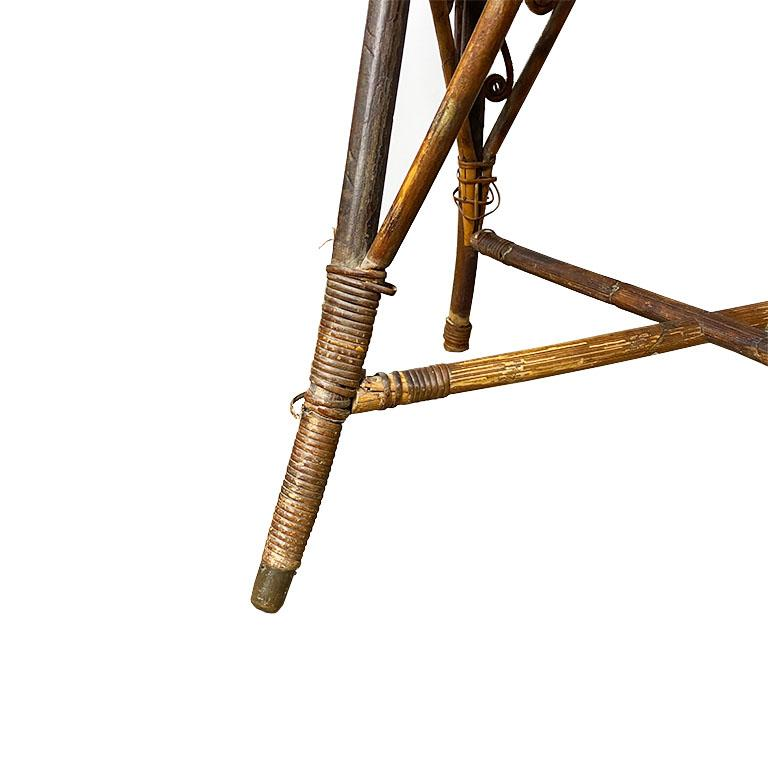 Art Deco Burnt Bamboo and Cane Arm Chair For Sale 2