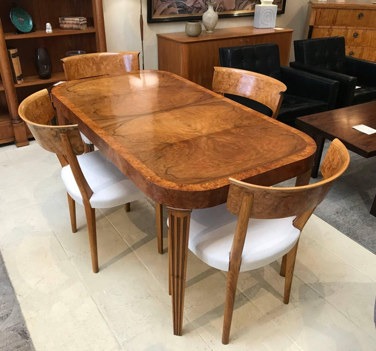 Kitchen Tables And Chairs For Sale: Art Deco Burr Elm Dining Table And Four Chairs For Sale At