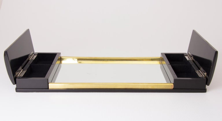 French Art Deco Burr Elm and Mirror Glass Tray For Sale