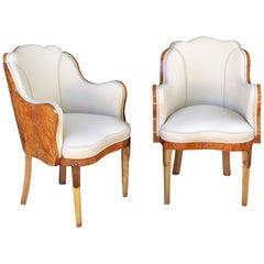Art Deco Burr Walnut and Cream Leather Armchairs by Maurice Adams 'Priced Each'
