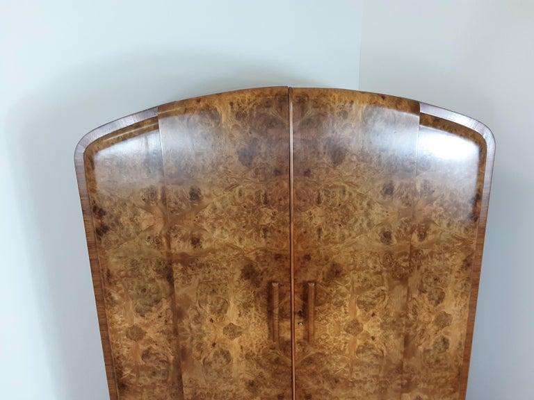 British Art Deco Burr Walnut Bedroom Suite by Grange Furnishing Stores, London For Sale