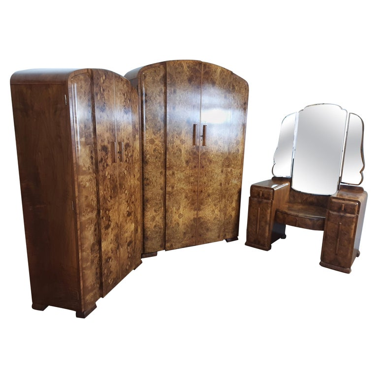 Art Deco Burr Walnut Bedroom Suite by Grange Furnishing Stores, London For Sale