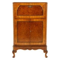 Art Deco Burr Walnut Cocktail Cabinet, Drink Cabinet, Scotland 1930, B1649