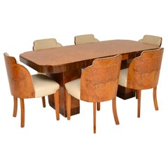 Art Deco Burr Walnut Dining Table and Cloud Back Chairs by Epstein