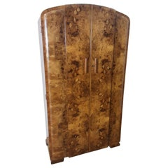 Art Deco Burr Walnut Tallboy by Grange Furnishing Stores, London