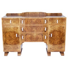 Art Deco Burr Walnut Veneered Sideboard, English, circa 1930