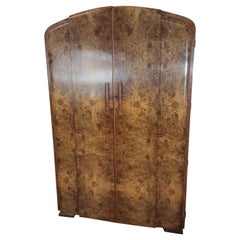 Art Deco Burr Walnut Wardrobe by Grange Furnishing Stores, London
