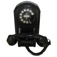 Art Deco circa 1930 Wall Mount Black Bakelite Telephone