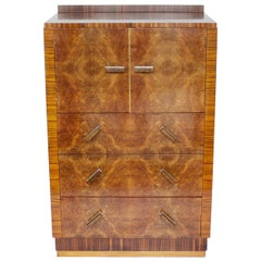 Art Deco Cabinet Chest English, circa 1930 Walnut and Macassar Ebony