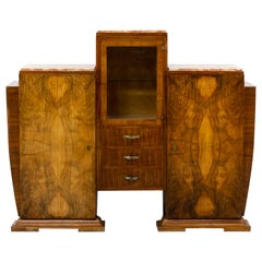 Art Deco Cabinet in Burl Walnutt with Glass Vitrine and 3 Marble Tops