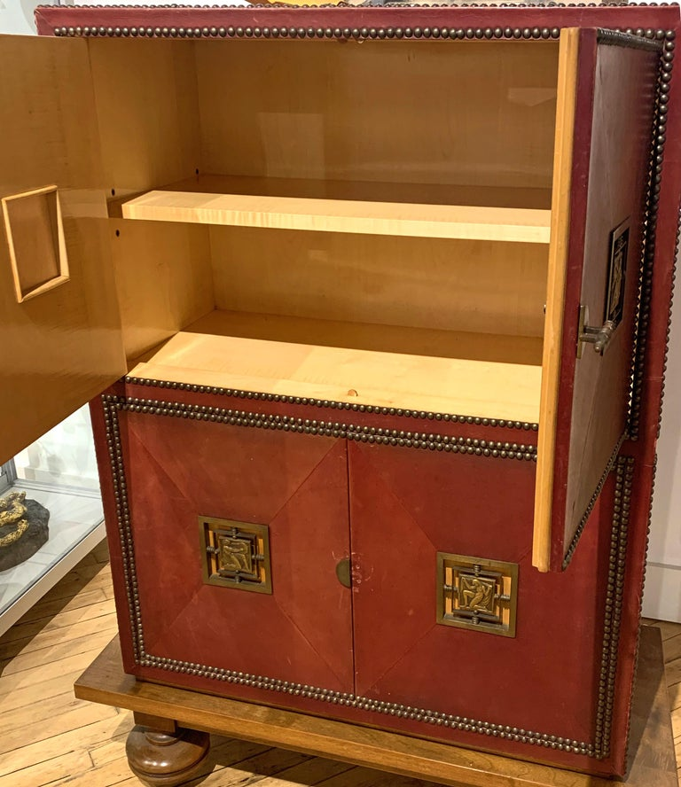Art Deco Cabinet in Deep Red Leather, France, with Bronze Mounts by Renard In Good Condition For Sale In Philadelphia, PA
