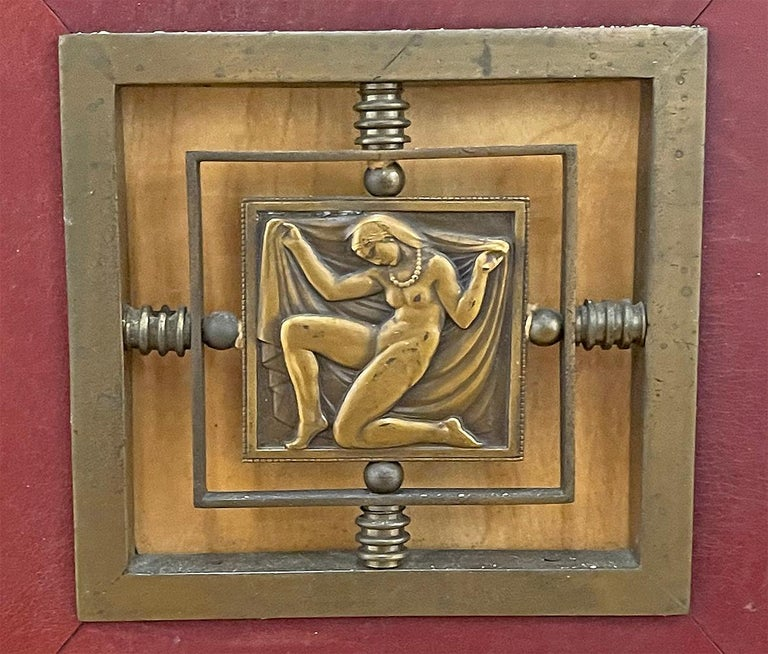 Art Deco Cabinet in Deep Red Leather, France, with Bronze Mounts by Renard For Sale 1