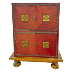Art Deco Cabinet in Deep Red Leather, France, with Bronze Mounts by Renard