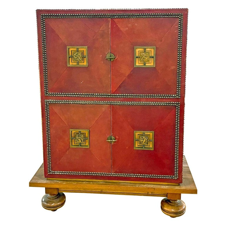Art Deco Cabinet in Deep Red Leather, France, with Bronze Mounts by Renard For Sale