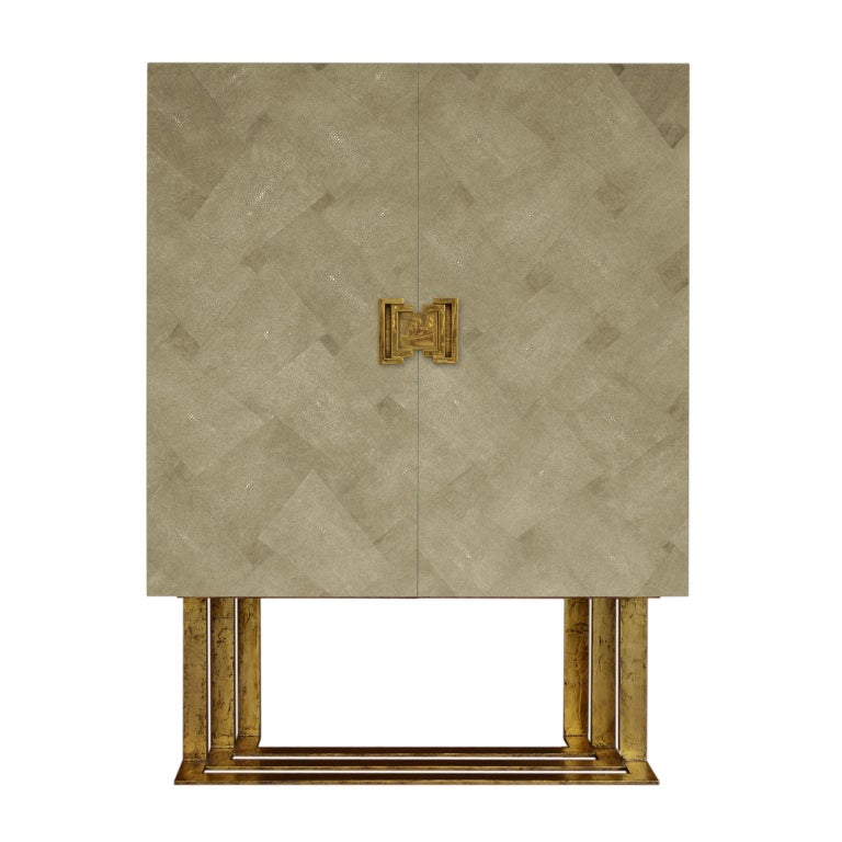 Art Deco Cabinet Maple Wood moonstone Shagreen Decoration Casted Brass Handle For Sale