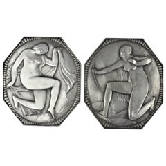 Art Deco Cabinet Plaques, Wall, Silvered Bronze