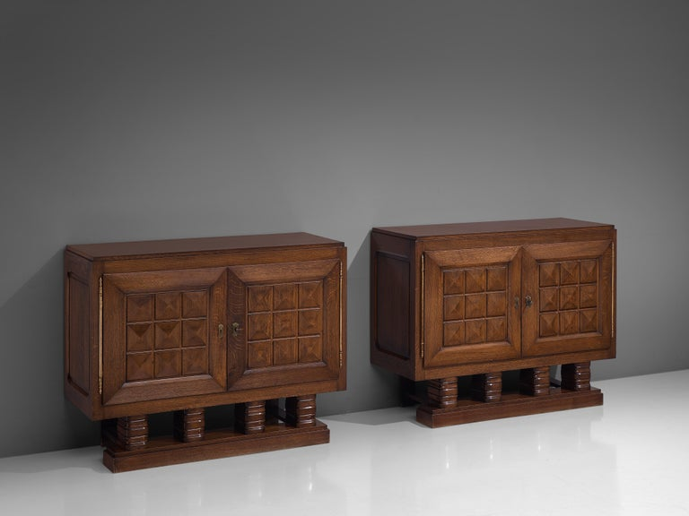Art Deco Cabinets in Stained Oak For Sale 5