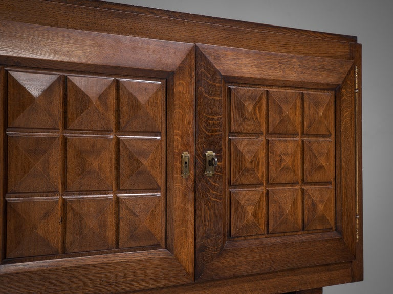 French Art Deco Cabinets in Stained Oak For Sale