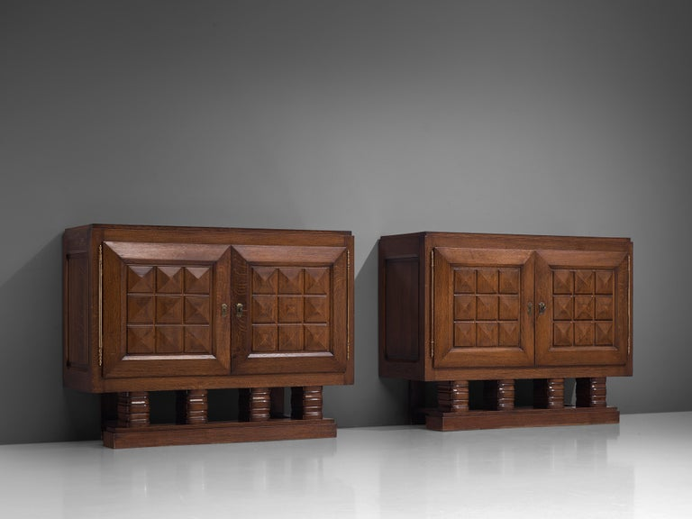Art Deco Cabinets in Stained Oak For Sale 1