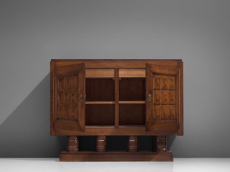 Art Deco Cabinets in Stained Oak For Sale 2
