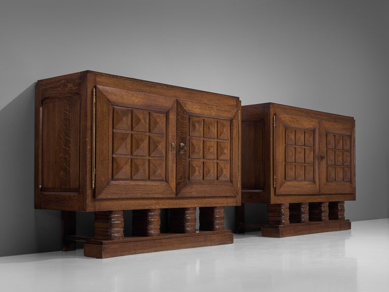 Art Deco Cabinets in Stained Oak For Sale 3